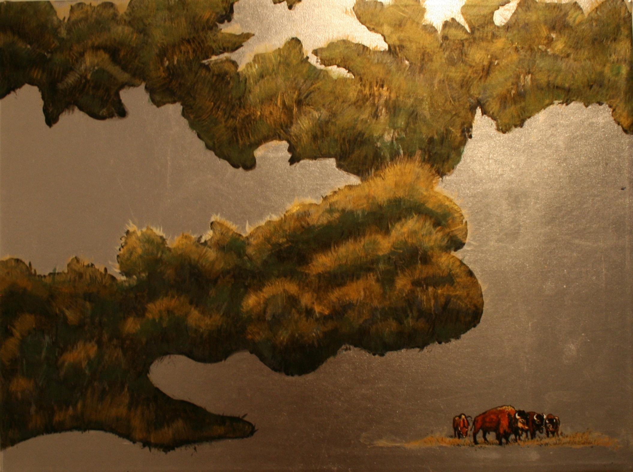"""Prairie   Acrylic on gold lamé  18"""" x 24""""  SOLD"""