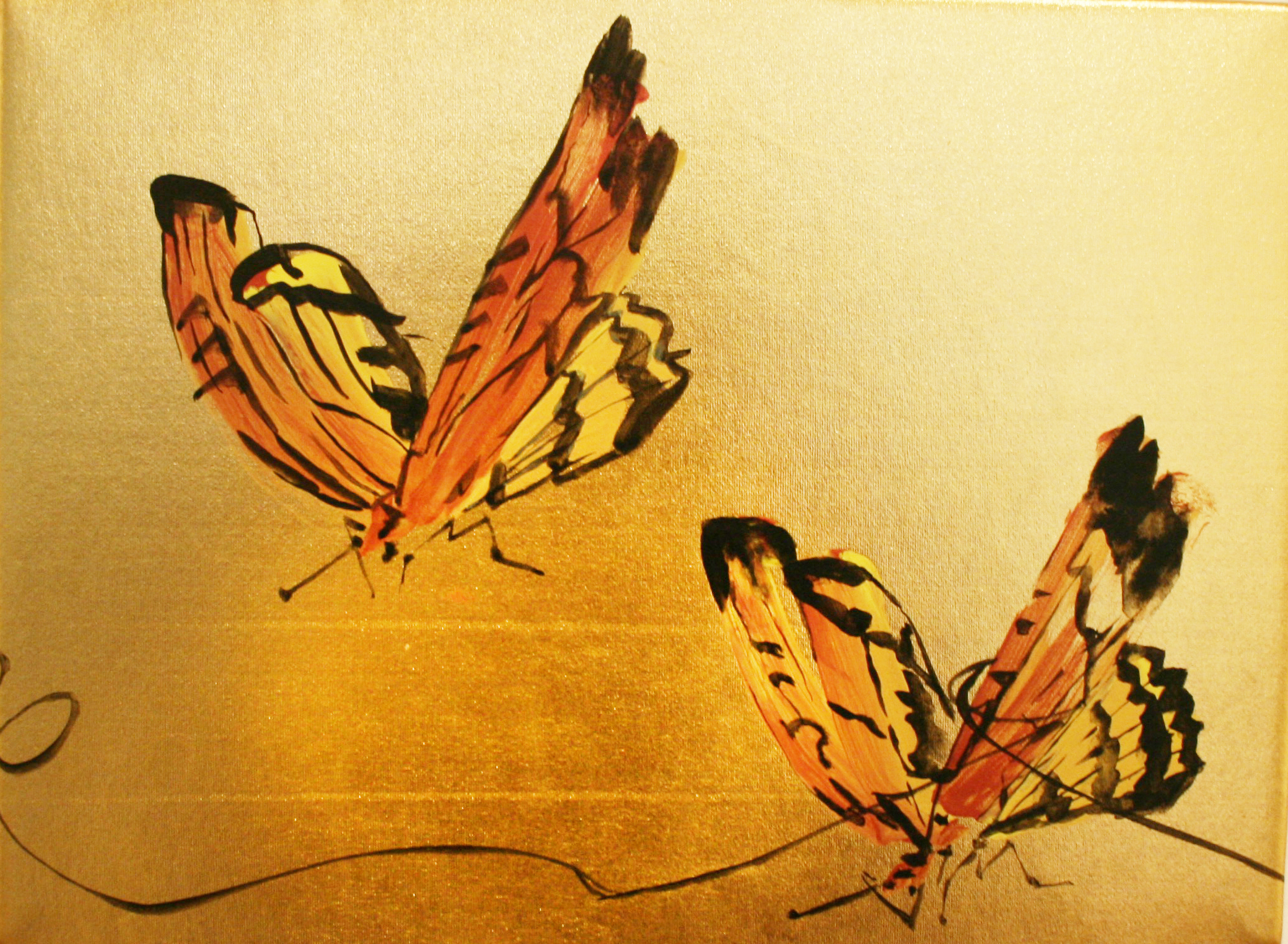 "Tangled Butterflies   Acrylic on gold lamé  9"" x 12""  SOLD"