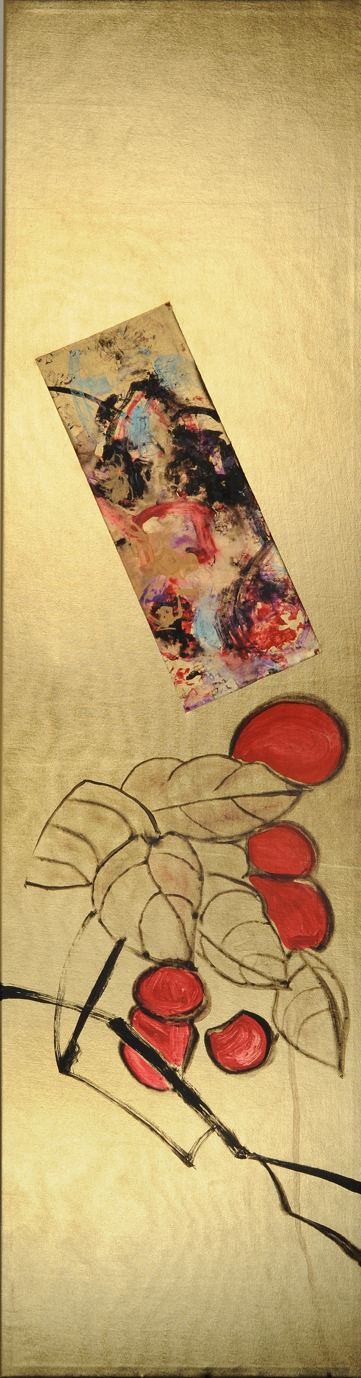 "Rama de Baya (Berry Branch)   Acrylic on gold lamé  38"" x 10""  $700   Click here to Inquire ."