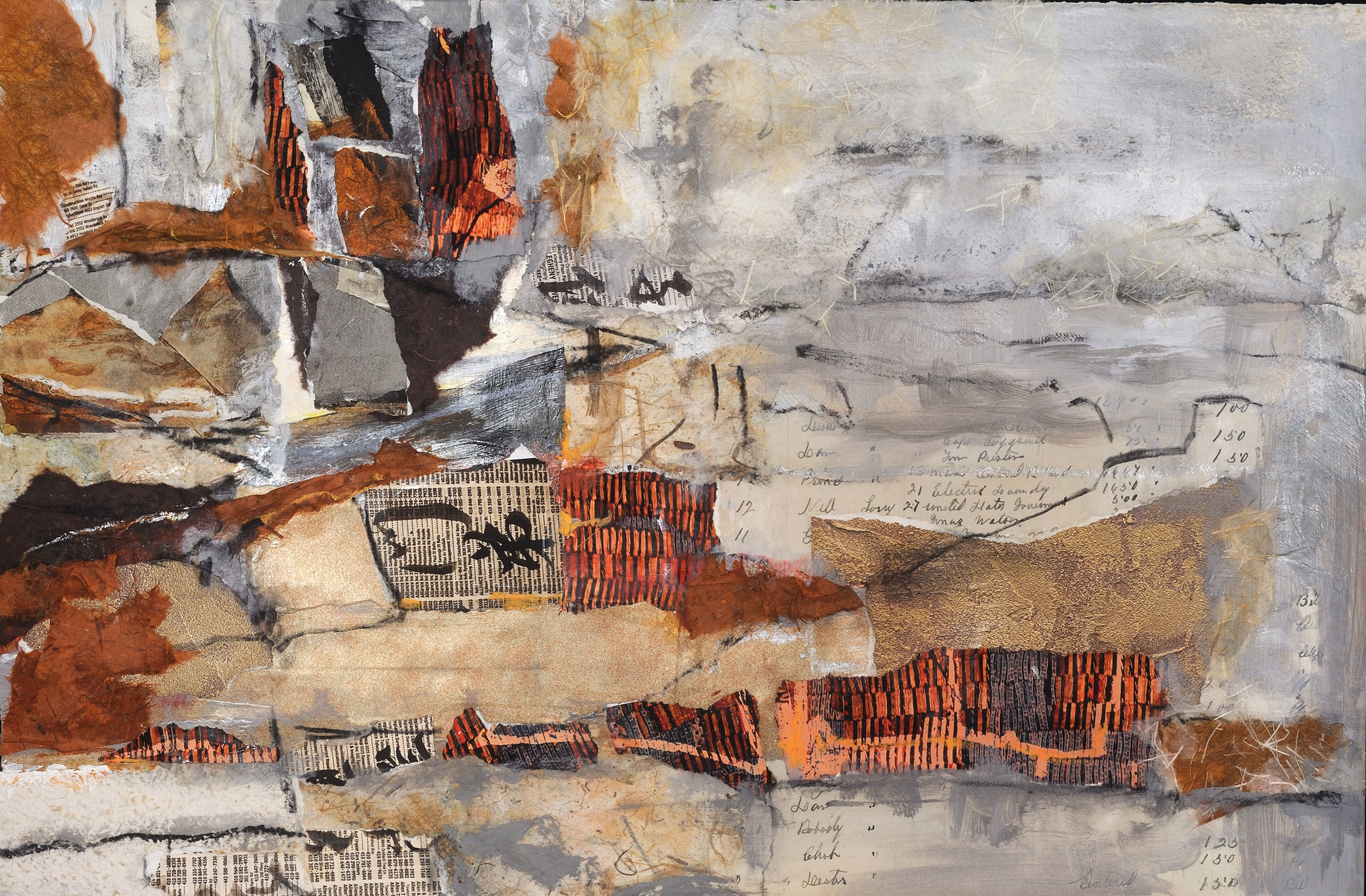 """Built This City   Suzanne Yurdin  Mixed Media Collage  18"""" x 24""""  $440   Click here to Inquire"""