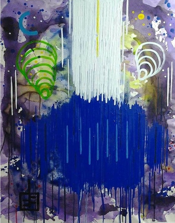 """7777777 #24   Yuno Baswir  Acrylic on Canvas  40"""" x 32""""  $7000   Click here to Inquire"""