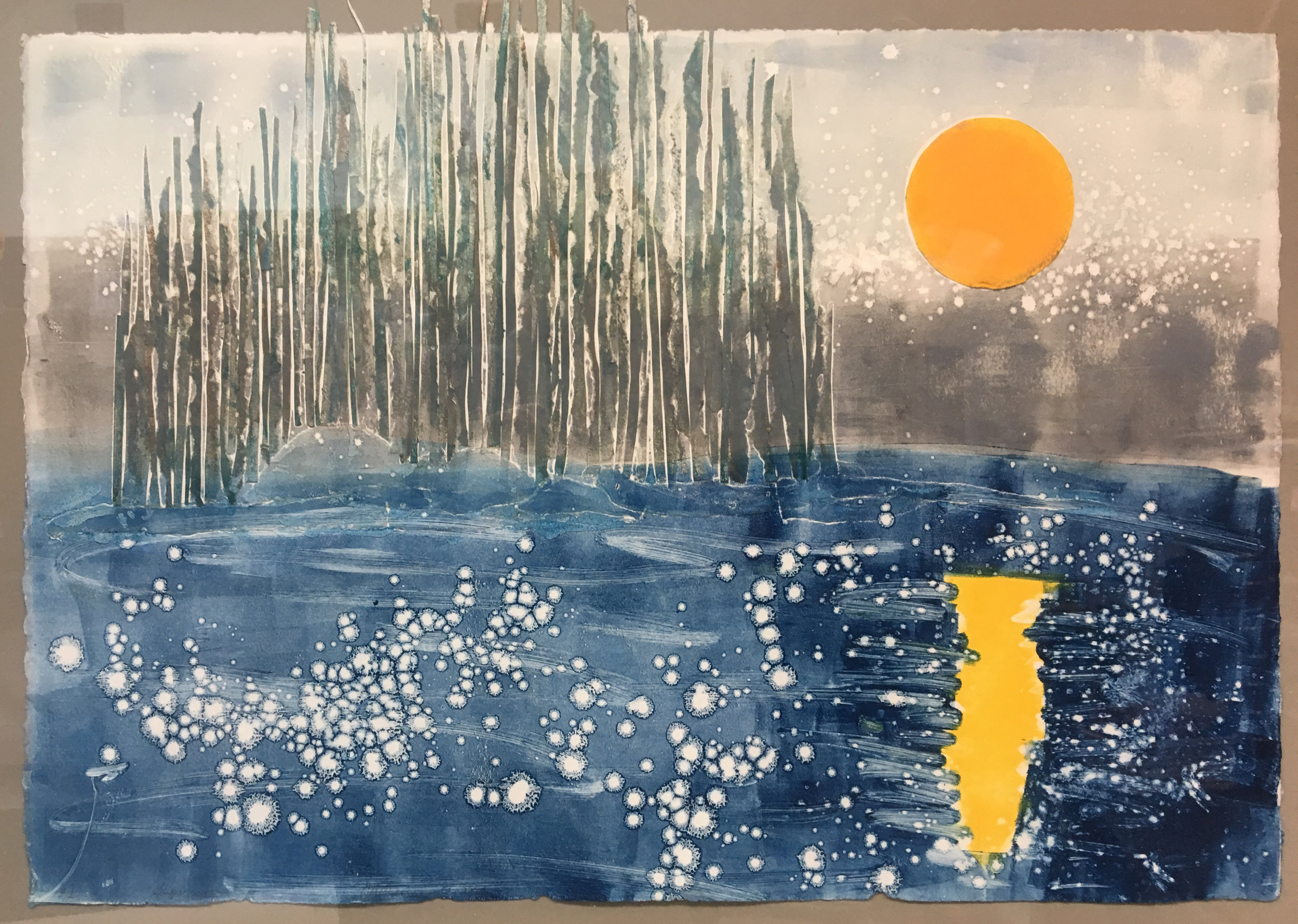"""Super Moon   Elizabeth Curren  22"""" x 28""""  Collagraph and Collage  $500  SOLD"""