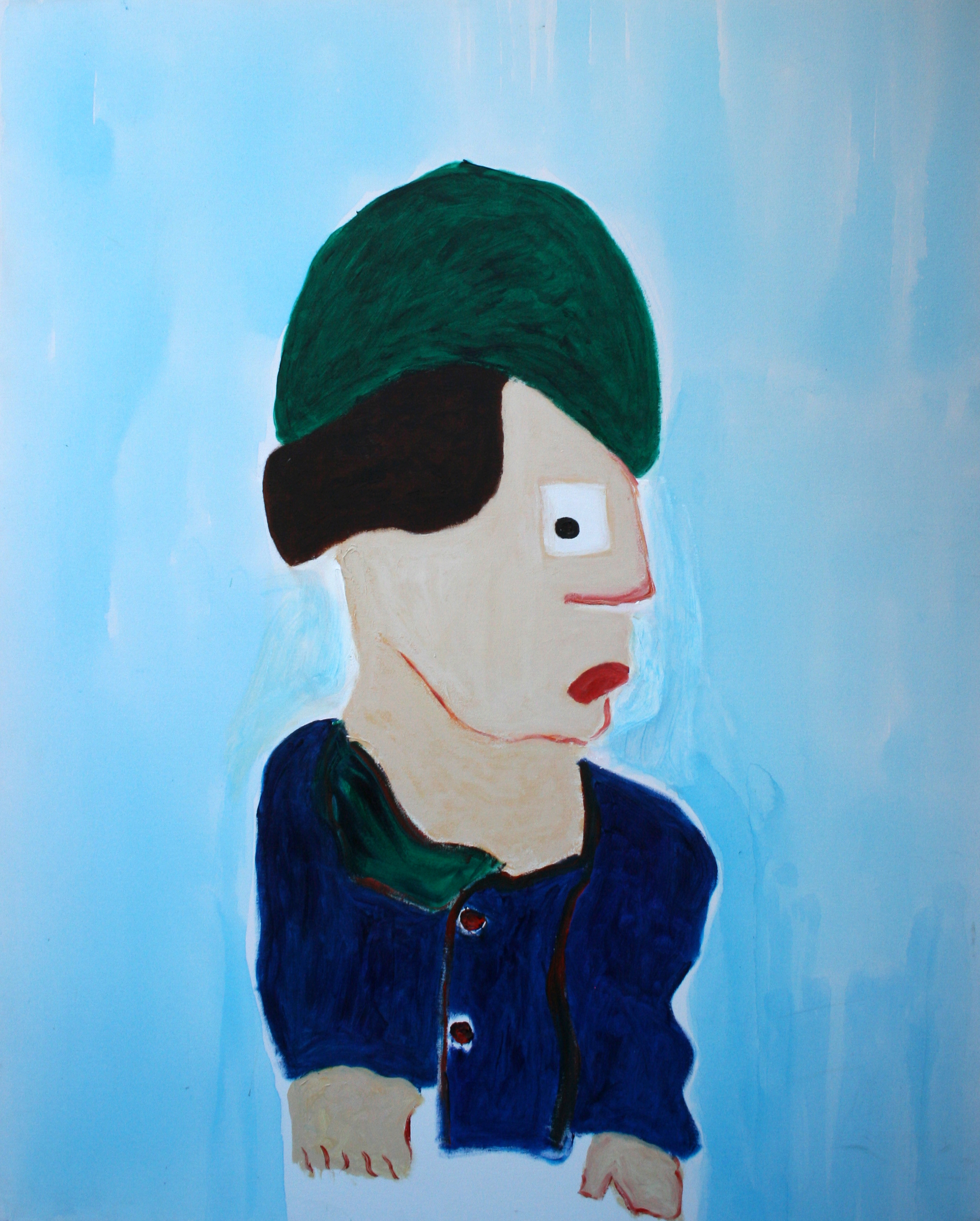 """Young Man With Collard Green   Yvette Kraft  Acrylic on Canvas  60"""" x 48""""  $3,000   Click here to Inquire"""