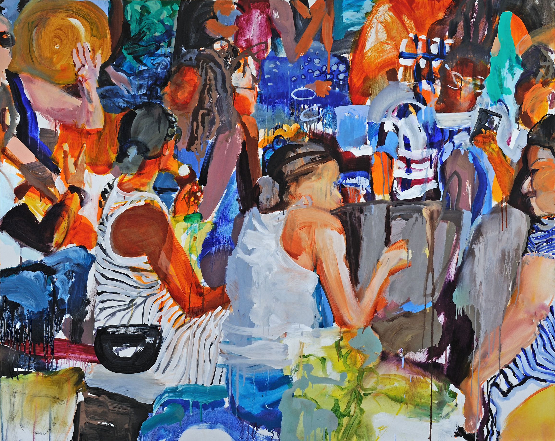 """On and On   Sally Kauffman  Oil on Canvas  48"""" x 60""""  $3,500   Click here to Inquire"""