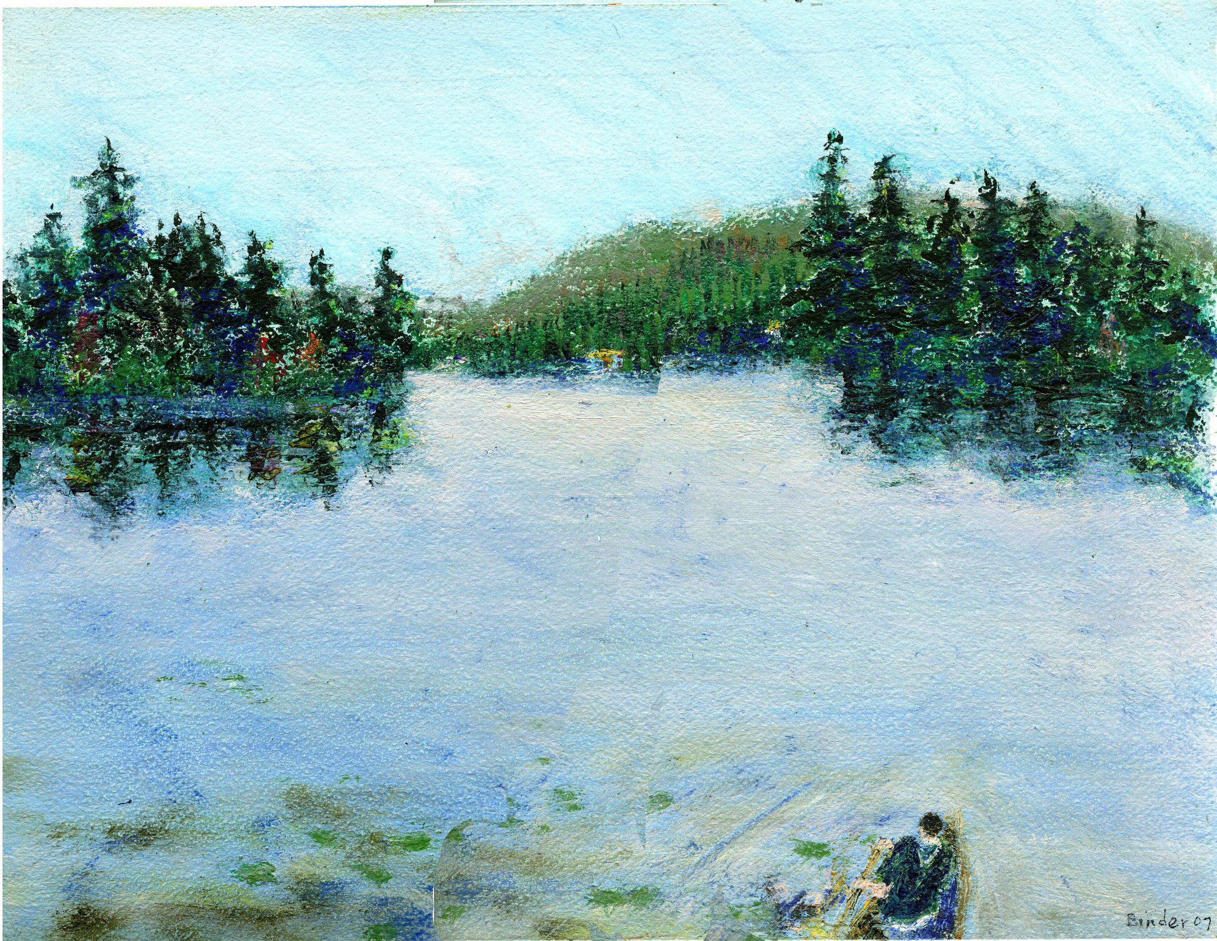 "Mountain View Lake, Adirondacks   Gordon Binder  Oil on Paper  10"" x 13.25""  $585   Click here to Inquire"