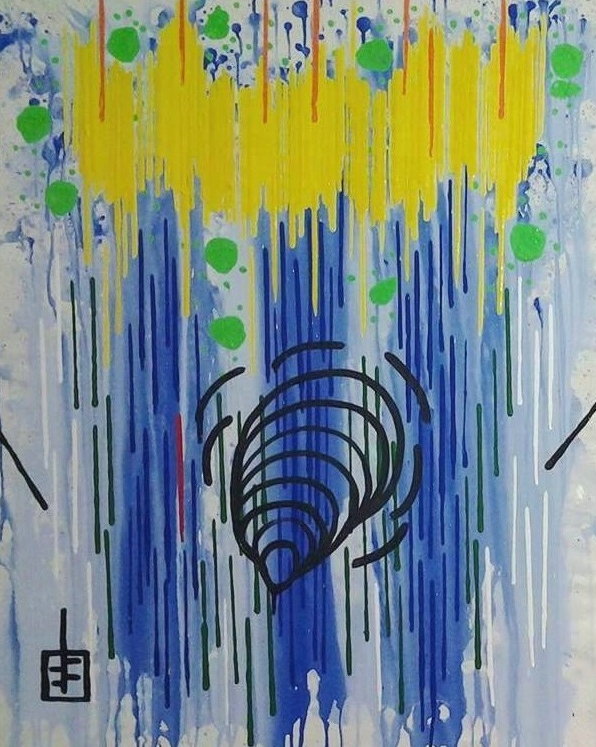 """7777777 #25   Yuno Baswir  Acrylic on canvas  40"""" x 32""""  $7000   Click here to Inquire"""