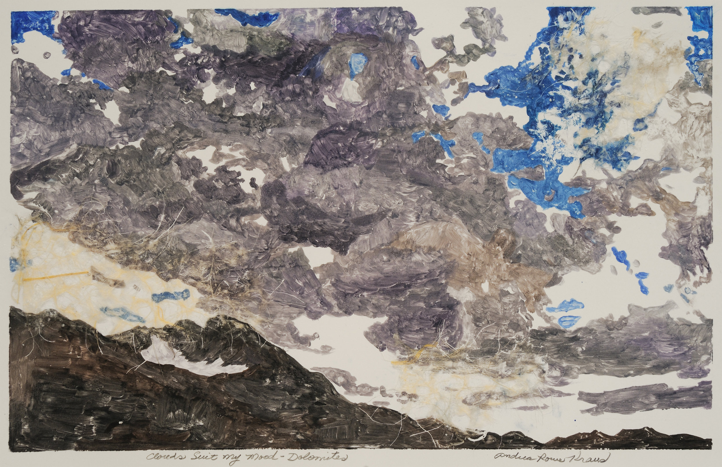 """Clouds Suit My Mood   Andrea Rowe Kraus  Chine Colle  25"""" x 18""""  $750   Click here to Inquire"""