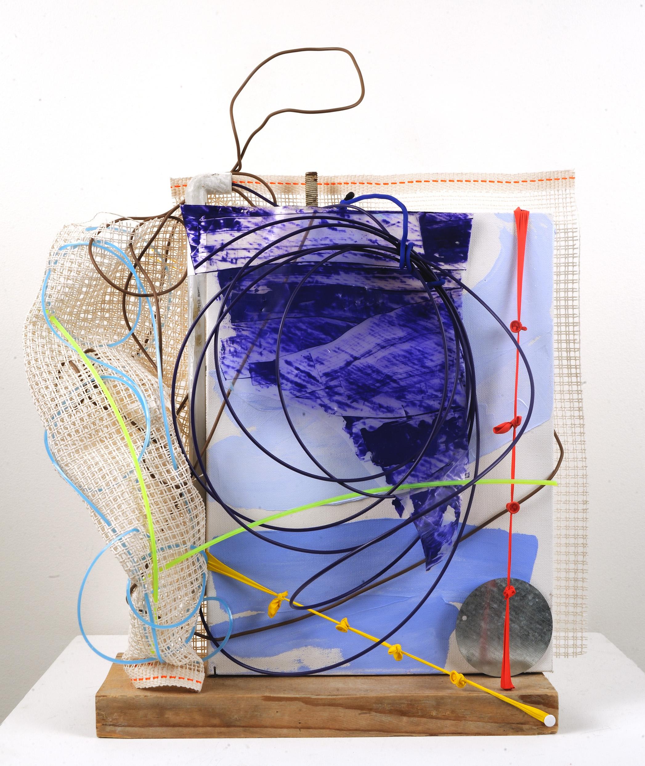 "Tinker's Tale   Jean Jinho Kim  Wooden block, Plastic, Mesh, Balloon, PVC pipe, Steel  23"" x 19"" x 9""  $1,800   Click here to Inquire"