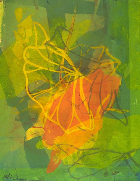 """Autumn Journey   Eleanor K. Wang  Silkscreen (monoprint)  17 x 35"""", triptych in one frame.  $600   Click here to Inquire"""