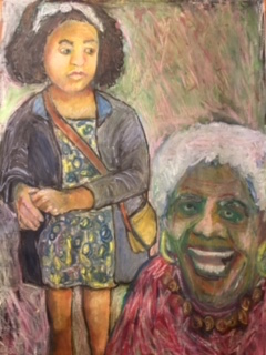 """Gals   Lois Kampinsky  Oil Stick on Canvas  18"""" x 24""""  $600   Click here to Inquire"""