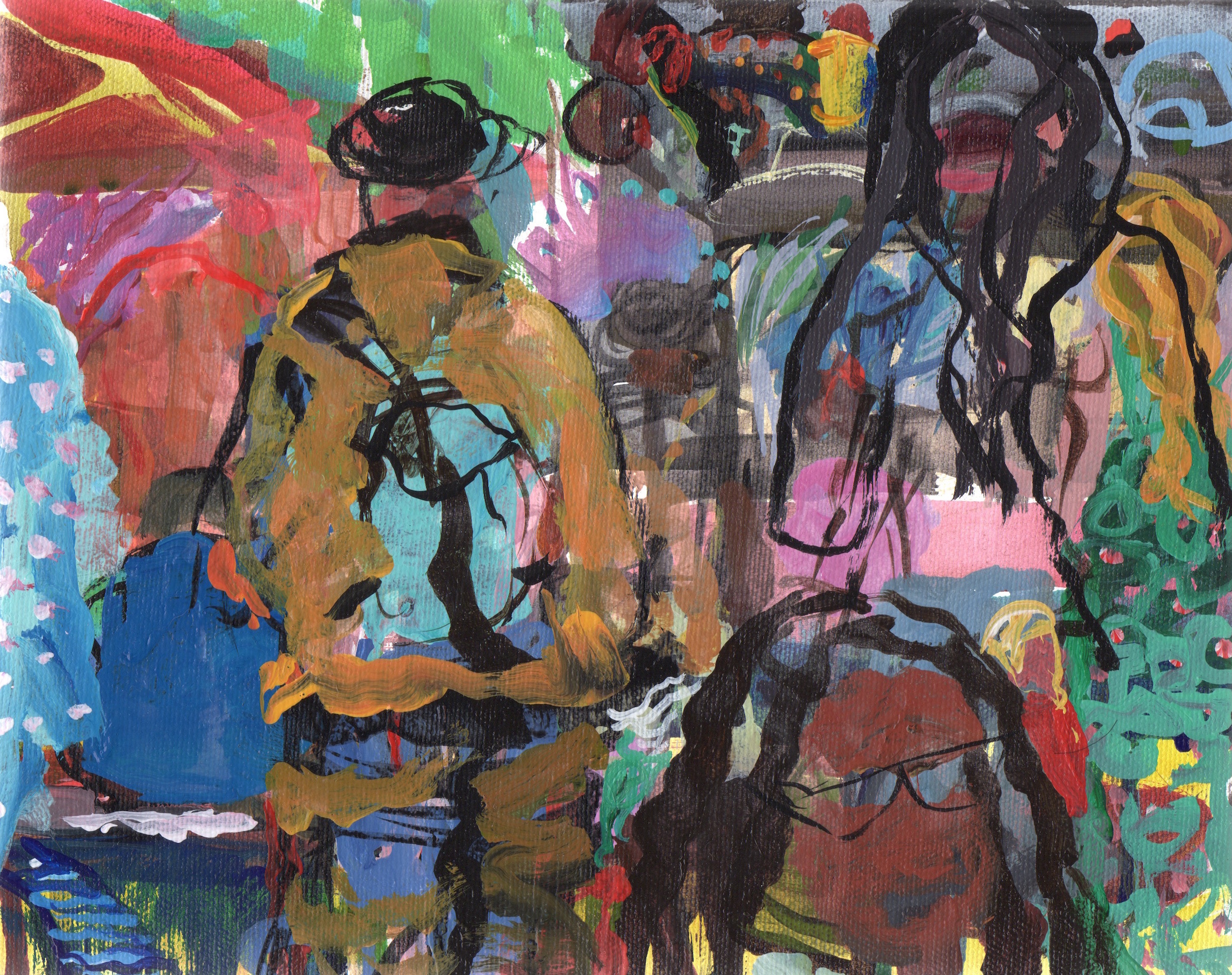 """202 Festival   Sally Kauffman  Acrylic on Canvas  8"""" x 10""""  $450   Click here to Inquire"""