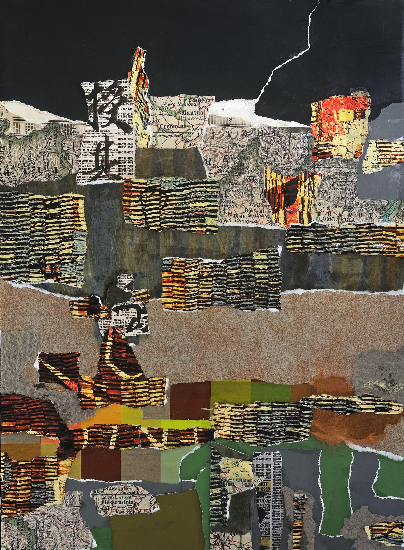 "Distant Walls   Suzanne Yurdin  Mixed Media Collage  20"" x 16""  $390   Click here to Inquire"
