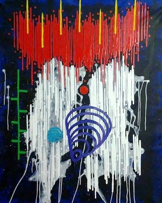 """7777777 #26   Yuno Baswir  Acrylic on canvas  40"""" x 32""""  $7,000   Click here to Inquire"""