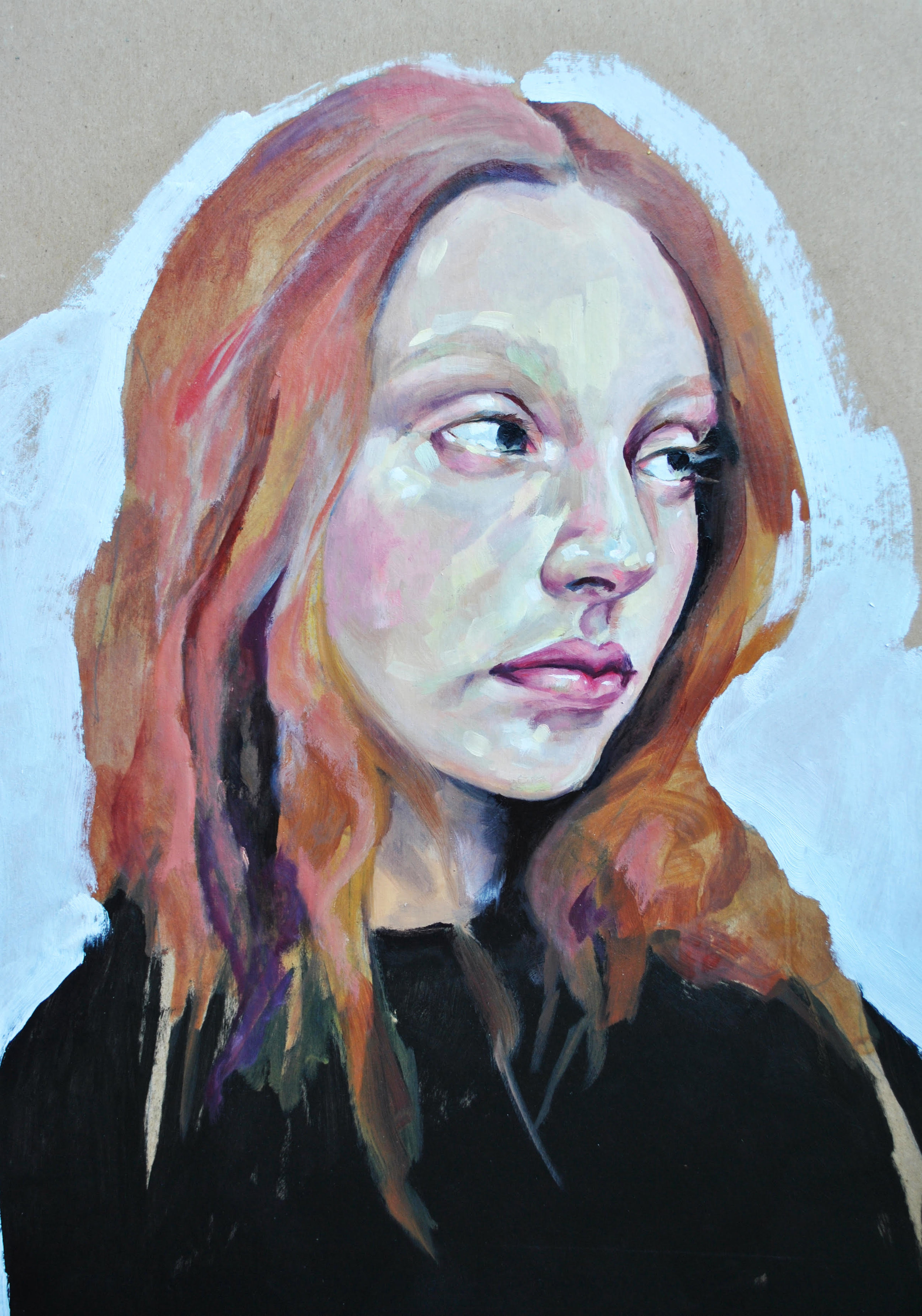 """Left   Nicole Fossi  Oil and Acrylic on Paper  18"""" x 24""""  $250   Click here to Inquire"""