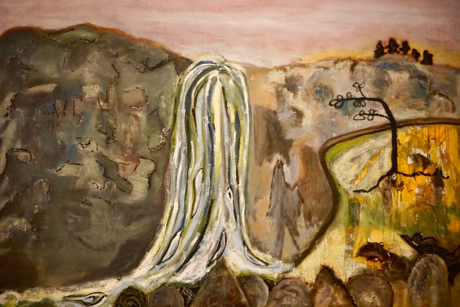 "Joy Every.  Stewart Falls.  Acrylic and Oil on Canvas. 37"" x 54"". 2006"