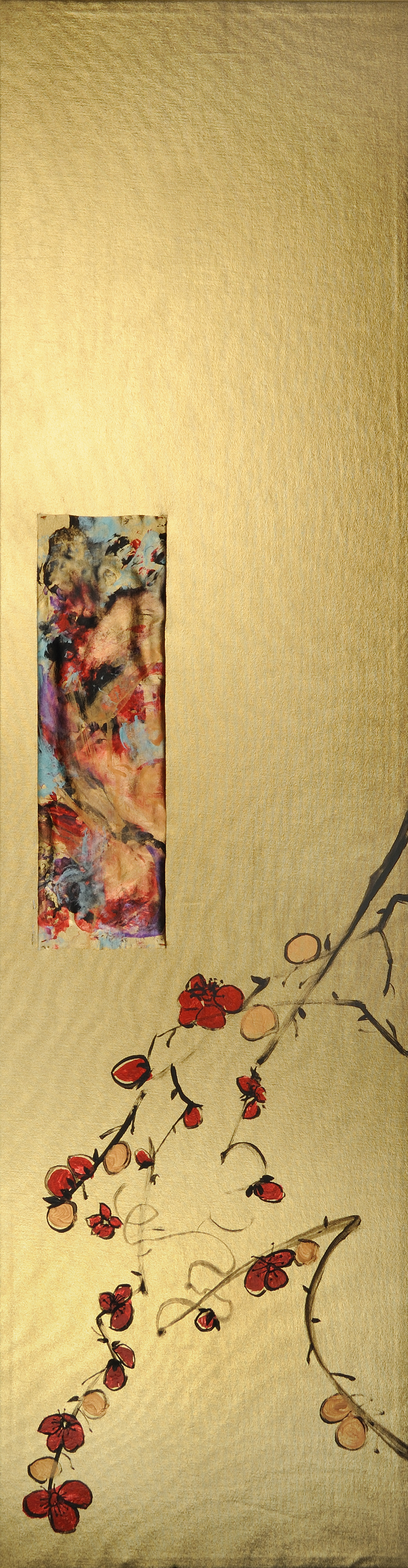 "Rama Ciruela (Plum Branch)   Acrylic on gold lamé  38"" x 10""  $700   Click here to Inquire."