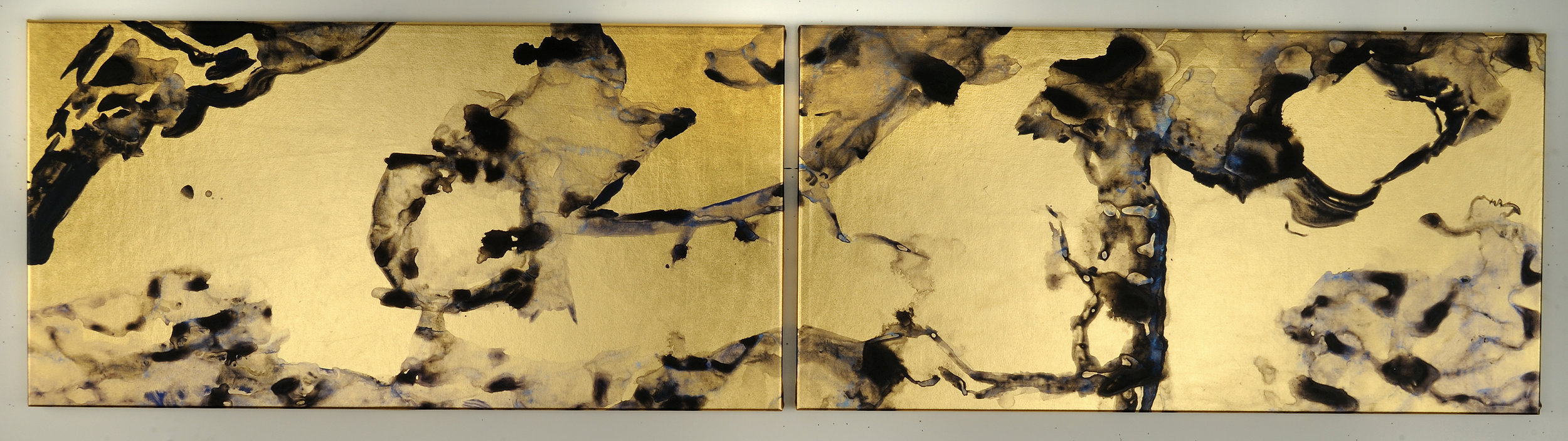 "Diptych   Acrylic on gold lamé  13 ½ "" x 28""  $,1000   Click here to inquire ."