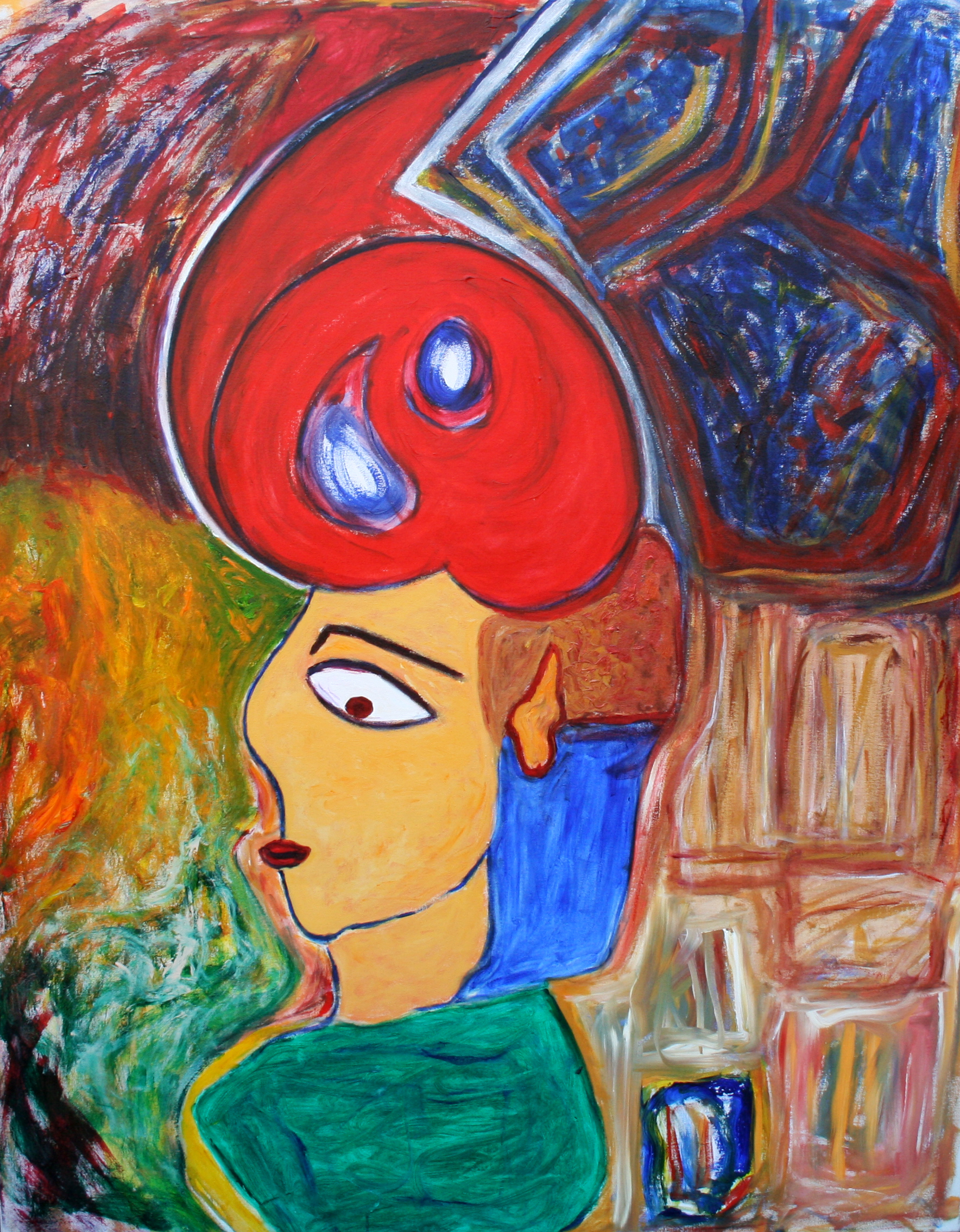 "The Sharp Red Hat   Yvette Kraft  Acrylic on Canvas  60"" x 40""  NFS"