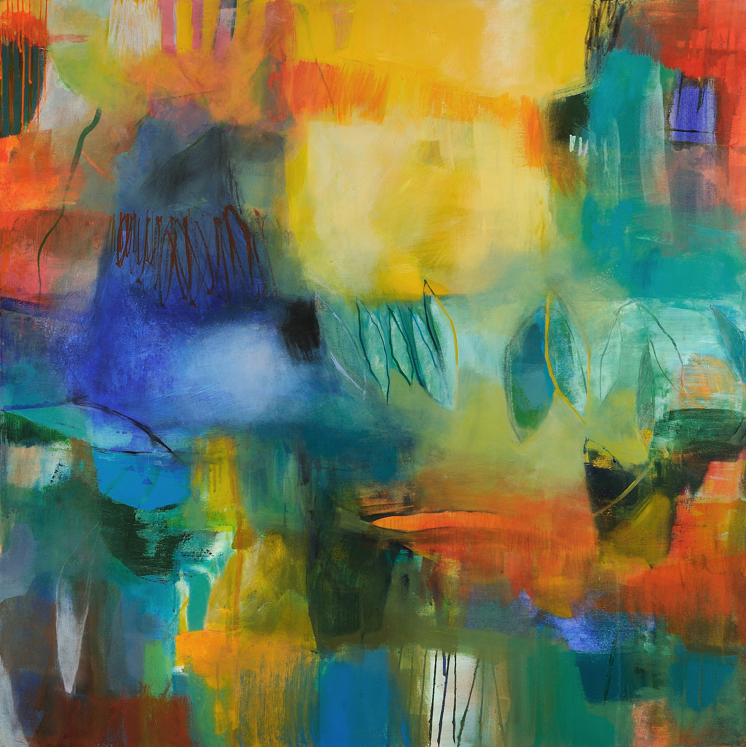 "Jennifer Duncan.  Leaves Fell .Mixed Medium on Canvas.36"" x 36"". 2017"