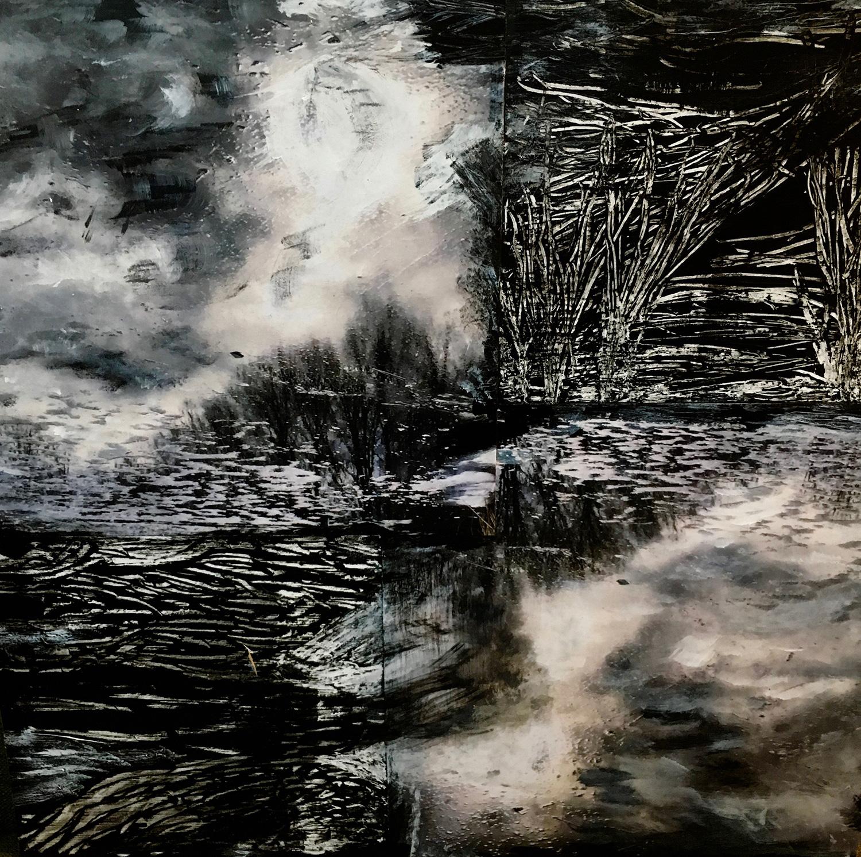 "Joy Every. Winter Lake . Mixed Media on Wood. 14"" x 14"". 2017"