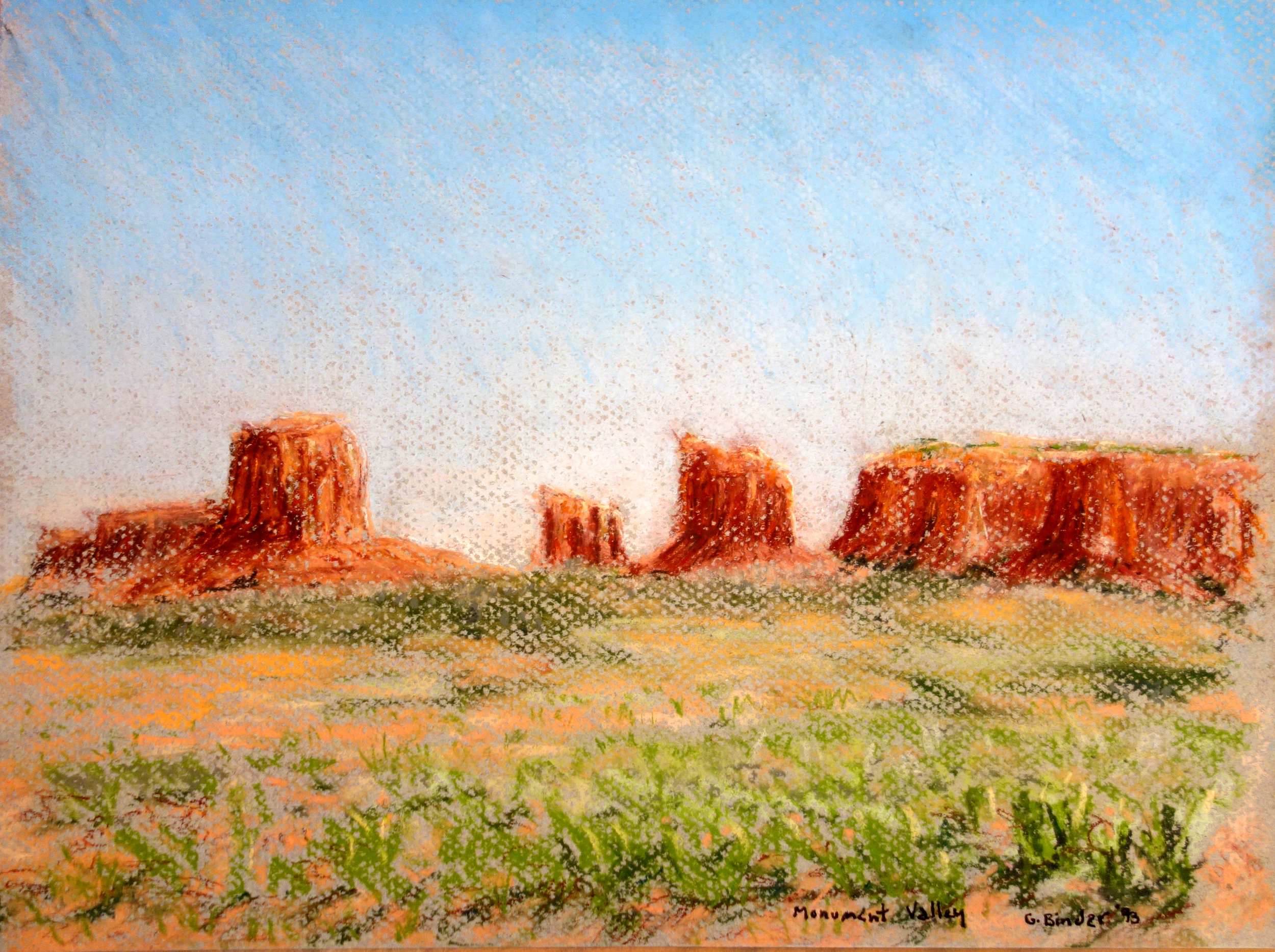 """Monument Valley, pastel on peach colored paper, 9"""" x 12"""", 1993, $325.  Contact us for inquiries."""