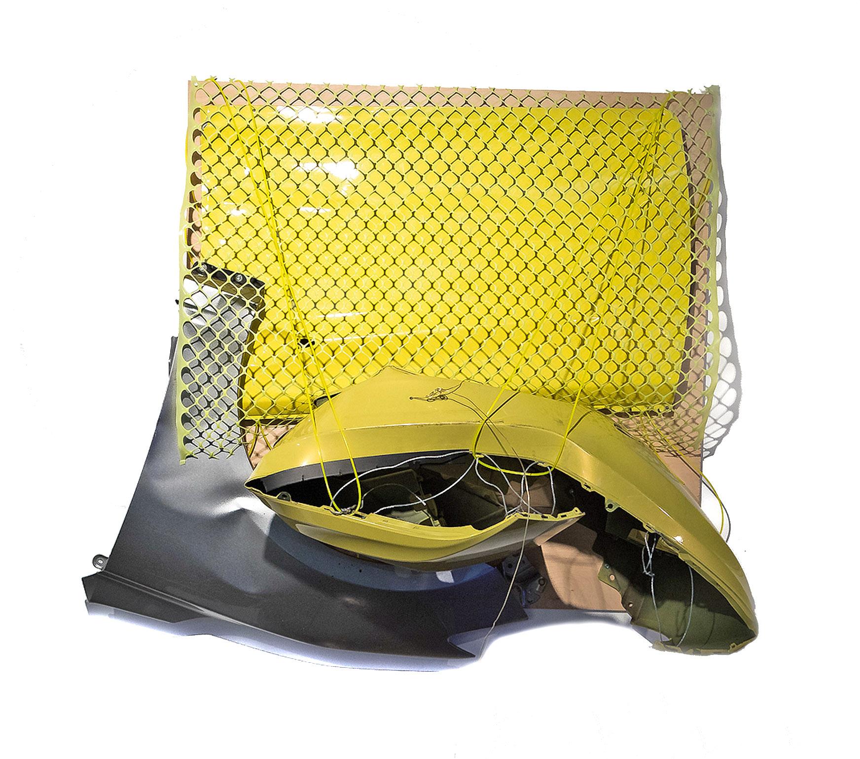 "Brooklyn   Jean Jinho Kim  Auto parts, cable, wire, mesh, wooden board  59"" x 52"" x 21""  $4,800   Click here to Inquire"