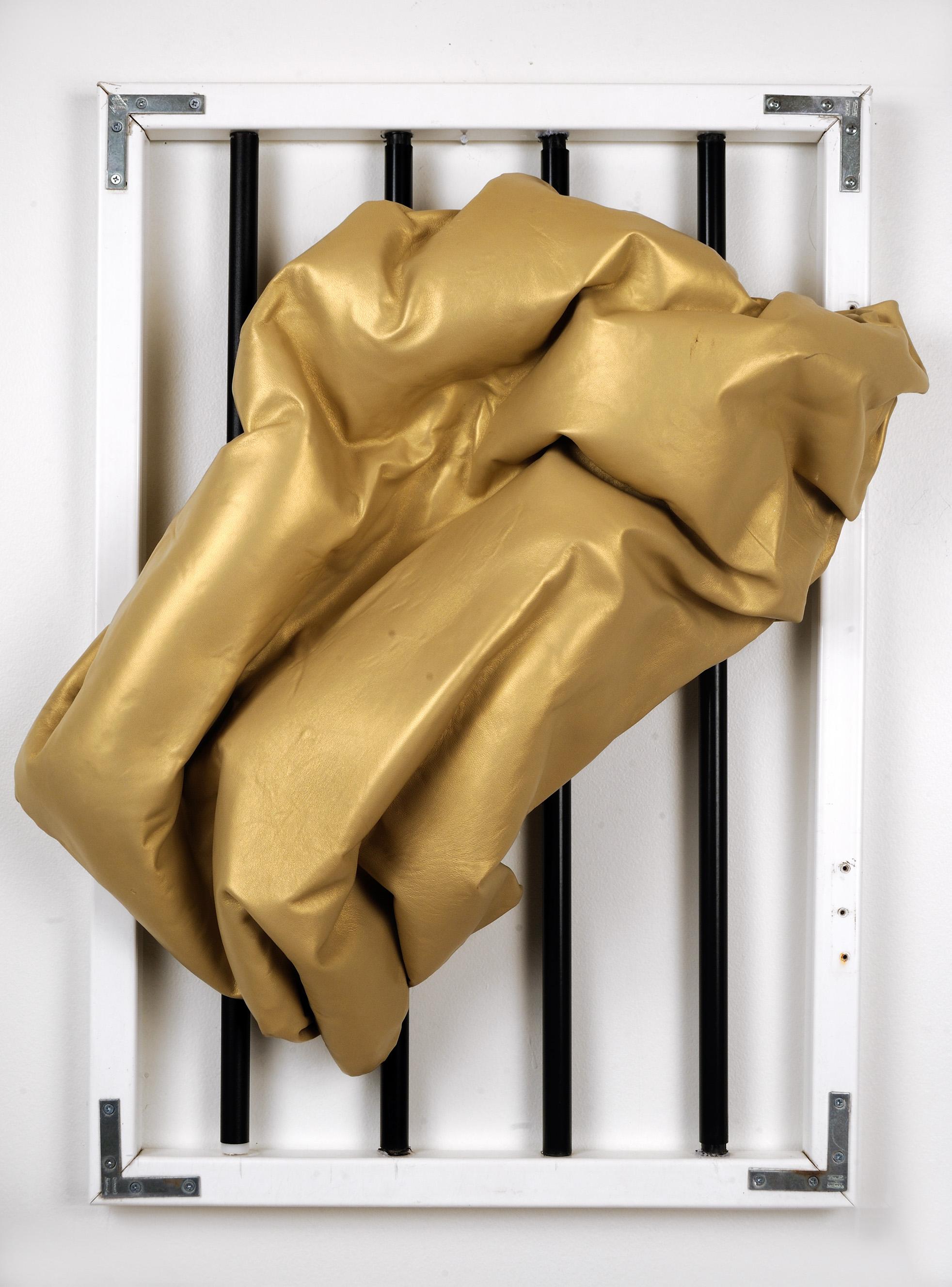 "Untitled, Gold   Jean Jinho Kim  Metal pipe, PVC, plastic foam, weed whacker  29"" x 23.5"" x 9""  $3,200   Click here to Inquire"