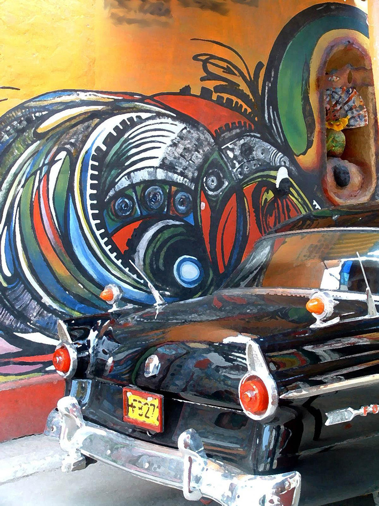 "Black Car, Painted Wall, Havana  , 36 x 48"", 3D acrylic line, oil on canvas. Available."