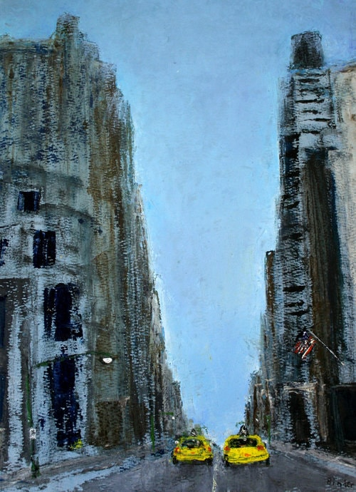"""38th and 8th (East) , by Gordon Binder. Oil on paper. 12"""" x 9"""". $385.  Buy it."""