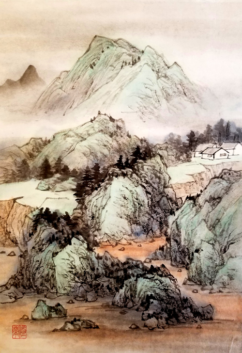 """Misty Spring , by Freda Lee-McCann. Ink and watercolor on rice paper. 18"""" x 13"""". $300.  Buy it."""