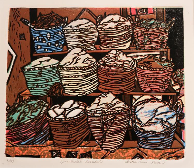 "Spice Baskets - Marrakesh , by Andrea Rowe Kraus. Linoprint. 19"" x 21"". $450.  Buy it."
