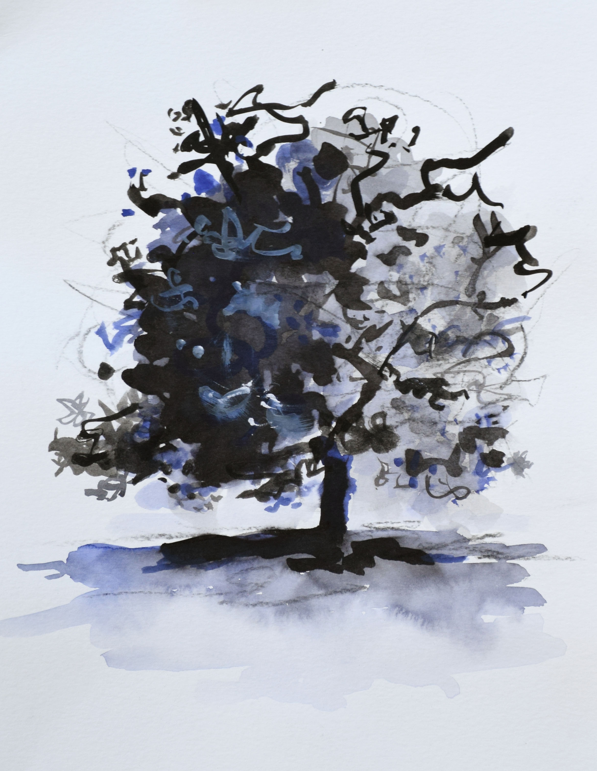 """#9 Lone Tree    I nk and Watercolor on Paper  12"""" x 15""""  $800   Click to Inquire"""