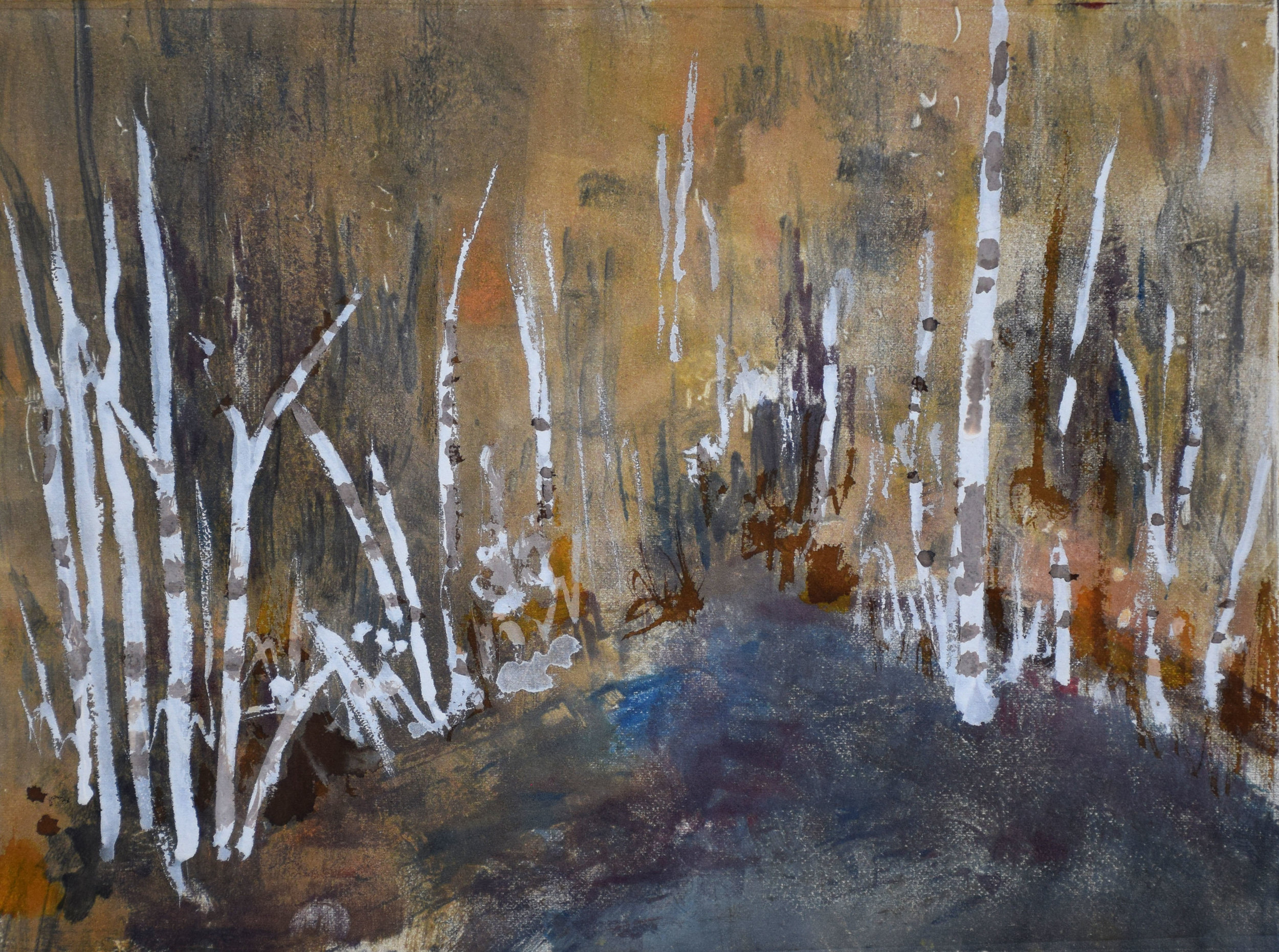 """#3 Colorado   Monoprint and Gouache on Paper  15"""" x 18""""  SOLD"""