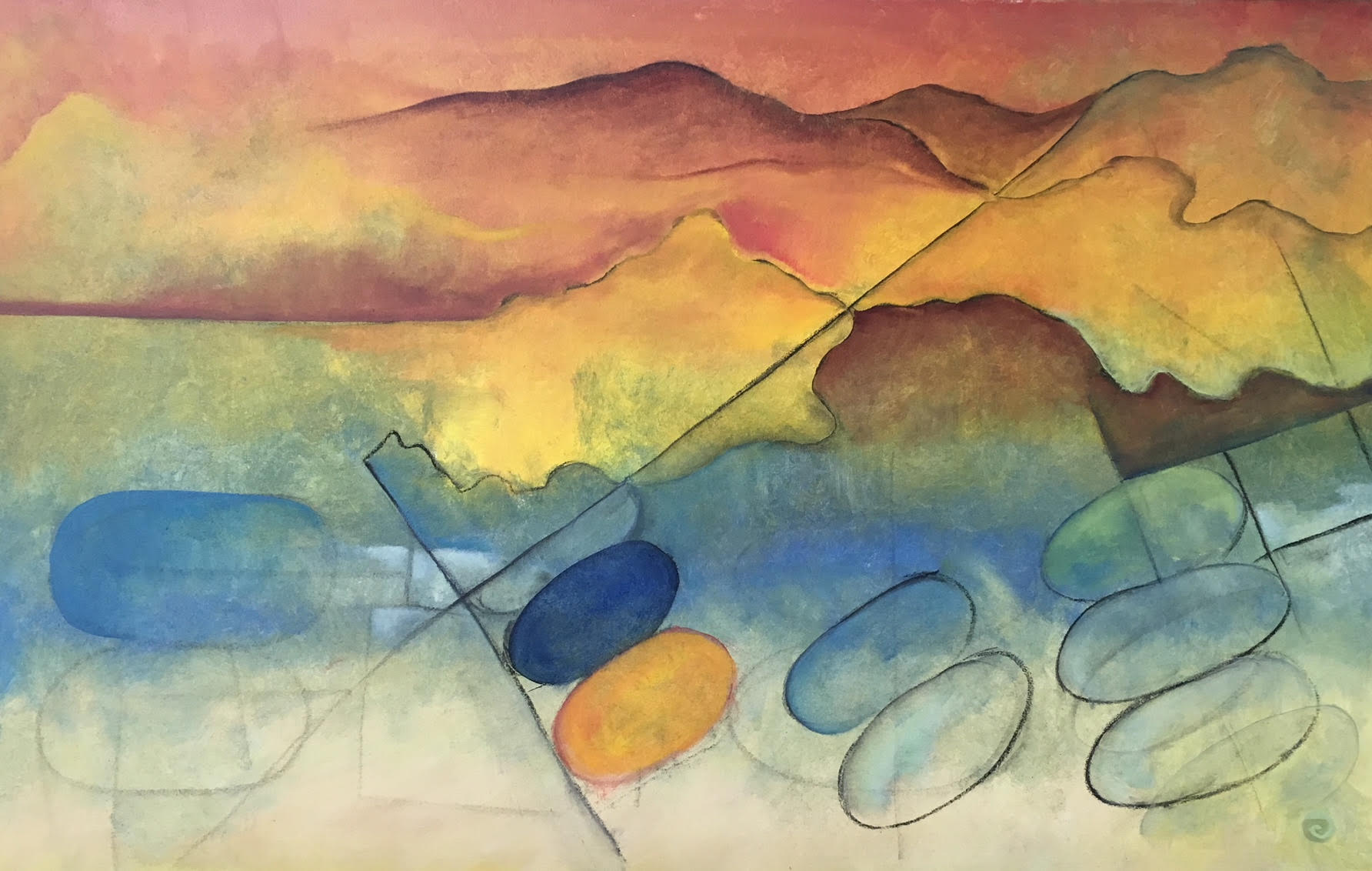 """Carolee Jakes   Oil and Charcoal on Canvas  30"""" x 48""""  $2,000   Click here to Inquire   ."""