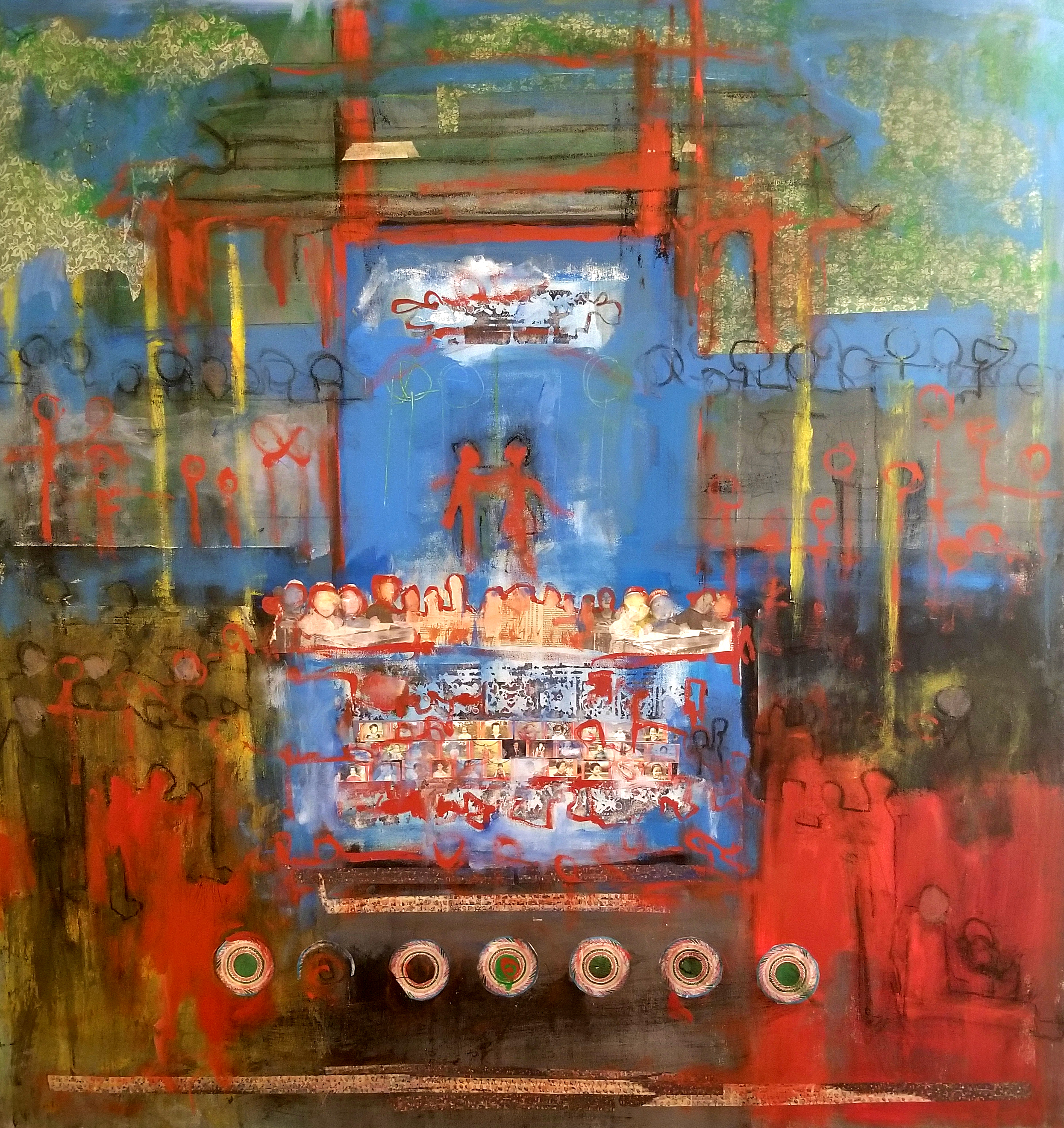 """Eleanor Wang   Mixed Media  49"""" x 47""""  $700   Click here to Inquire"""