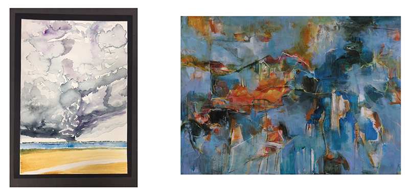 """(Left)  7/17/18; 5:56 pm , Elizabeth Curren.2018, Watercolor and pencil on Arches paper; 9""""x 12"""". (Right)  Awakening , Suzanne Yurdin. Mixed media on canvas, 40"""" x 30""""."""