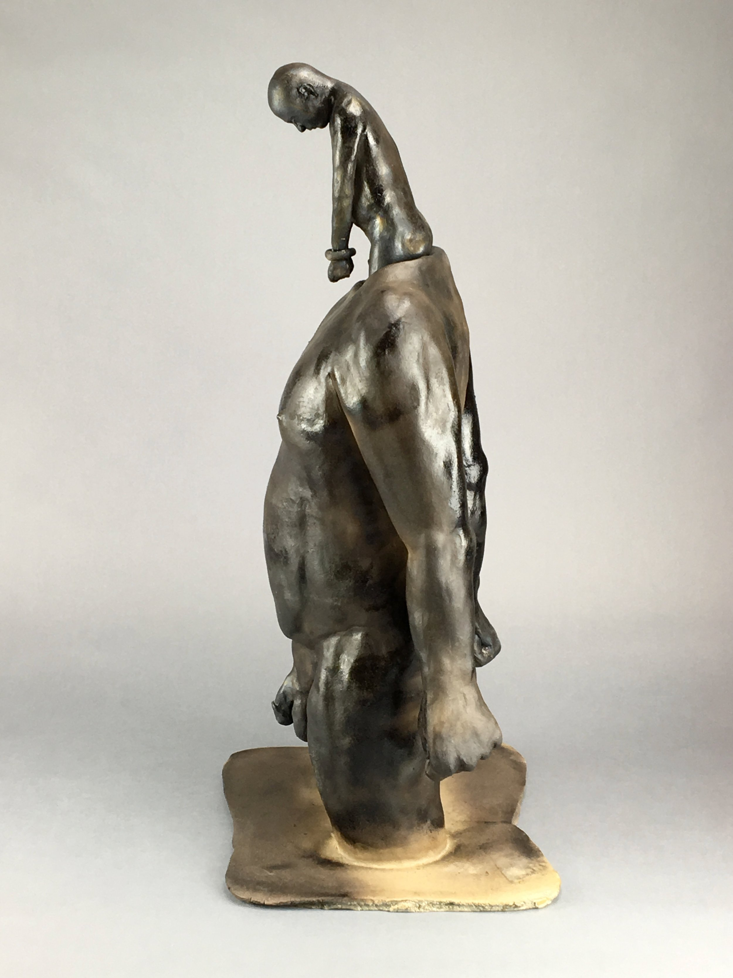 """All in a Day  (Figure and five inserts)  Pit-fired Ceramic  12"""" x 11"""" x 27""""  $4500  Click Image to Enlarge   Click here to Inquire"""