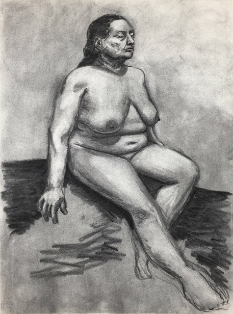 """Figure Study: Energy of Being (1996)   Charcoal  17"""" x 23""""  $300 (Framed)  Click Image to Enlarge   Click here to inquire"""