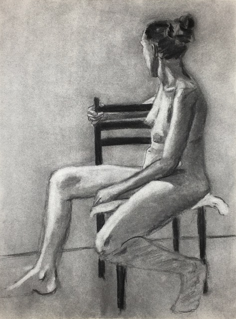 """Figure Study: Turn to the Light   Charcoal  17"""" x 23""""  $300 (Framed)  Click Image to Enlarge   Click here to inquire"""