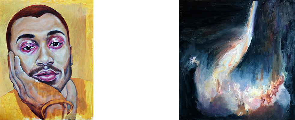 "(Left)  Temporality , Nicole Ida Fossi. Oil, acrylic, and colored pencil on paper, 18"" x 24"", 2018. (Right)  Galaxy 1 , Suzanne Goldberg. Oil on Canvas, 24"" x 24"". From the  Galaxy  series. 2018."