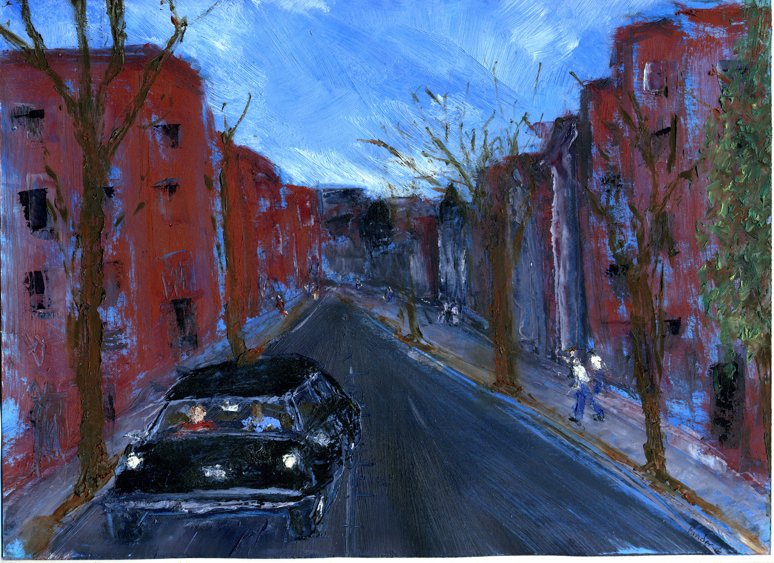 "29th and N (South) , Gordon Binder. Oil on paper, 19"" x 11-1/2"".  Inquire ."