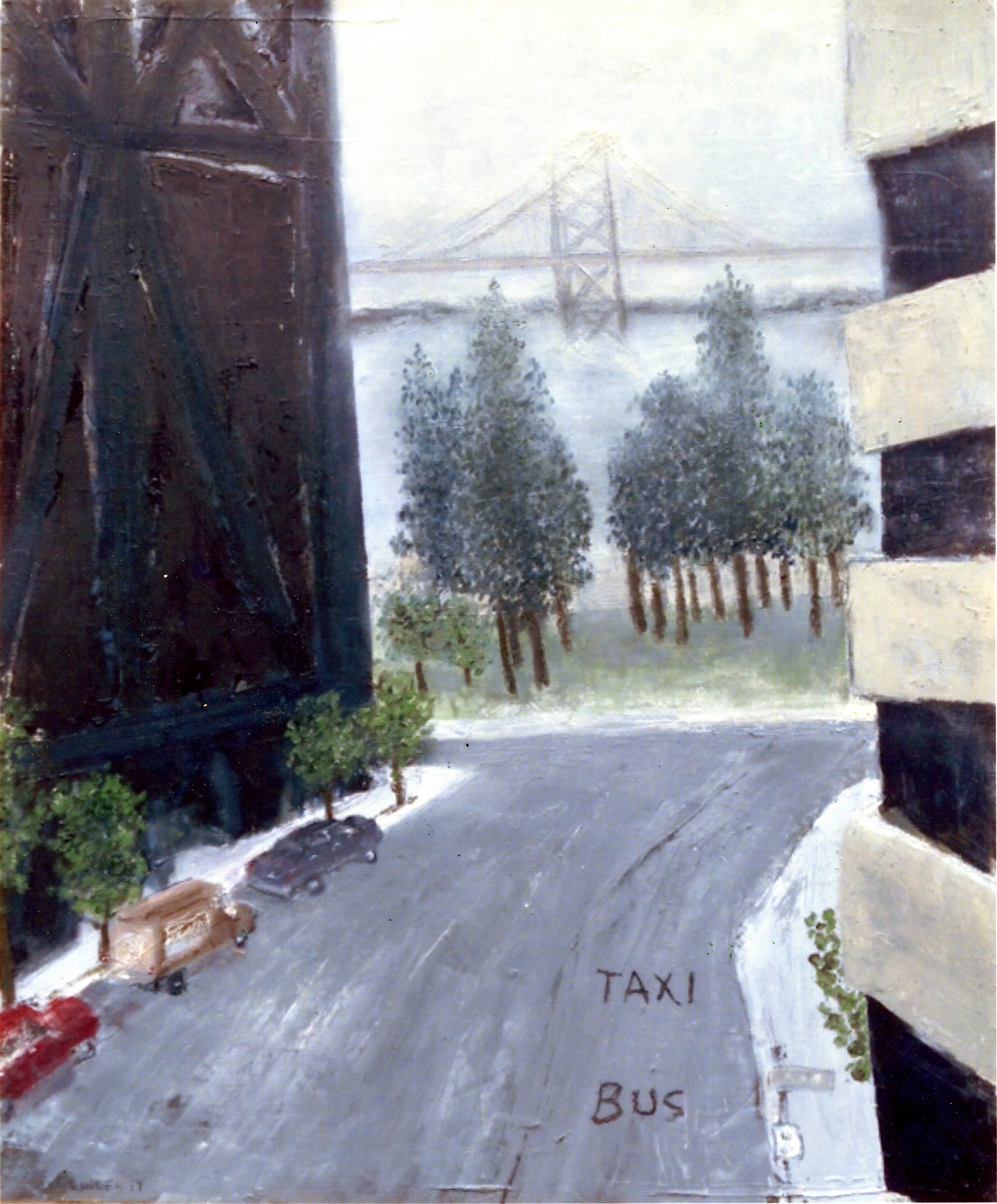 "San Francisco Bay Bridge   Oil on canvas paper  24"" x 20""  $1035  Click to Enlarge Image   Inquire."