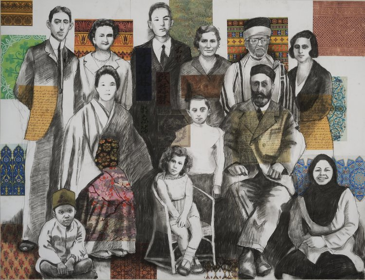 "One Family , charcoal & collage on paper mounted on canvas, 52 ""x 40""."