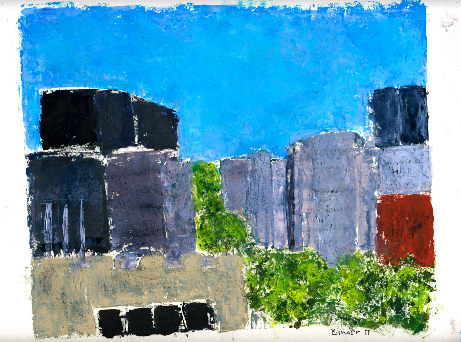 "Up Connecticut Avenue   Monotype on oil  9"" x 12""  $475  Click to Enlarge Image   Inquire"