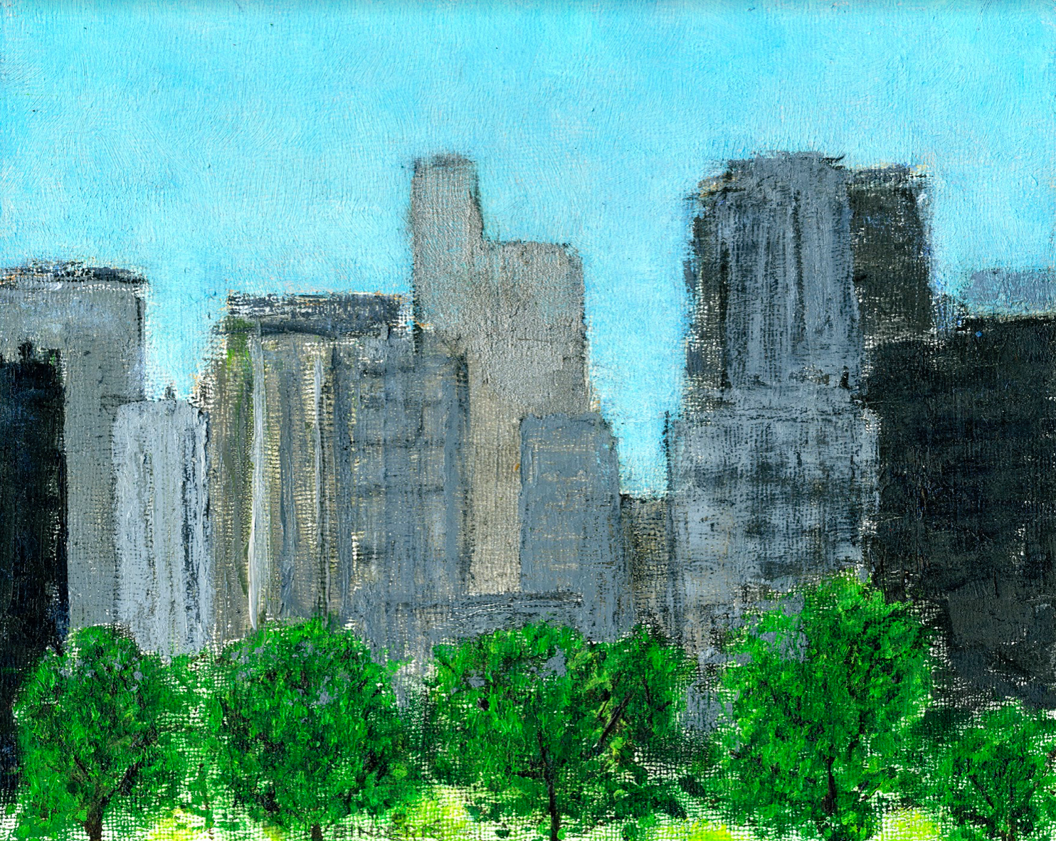 "Rosslyn Skyline   Oil on board  8"" x 10""  $385  Click to Enlarge Image   Inquire"