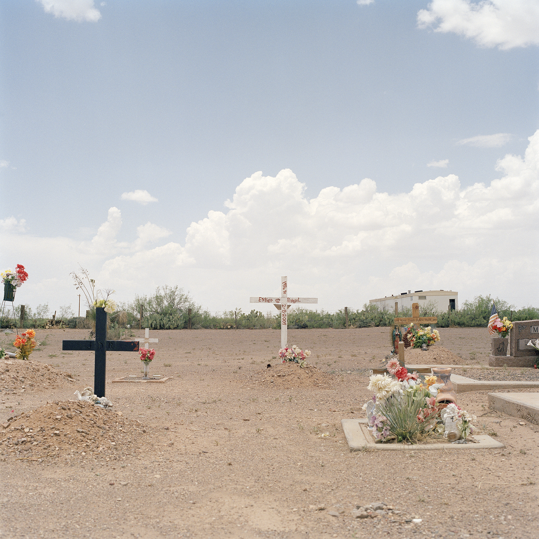 "Valentine, TX (cemetery),  Kim Llerena .  C-print with photo-etched zinc plaque. 27"" x 27"". Edition 1 of 5.  Inquire."