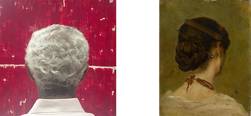 "(Left)  Back to Front,  Langley Spurlock & L. J. Amon. Photos Mounted on Five Wood Panels. 6"" x 6"" each panel. Five sets of five photos.  Inquire . (Right) Head of a Woman, N.D, Alfred Stevens. Image from  Cave to Canvas ."