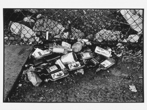 The Bowery in two inadequate descriptive systems, 1974-75 , Martha Rosler. Photo installation 45 black-and-white photographs, baryta paper (prints 1999), 21 images and 24 photographed typescript texts, mostly in pairs dry-mounted on 24 black cardboards, 20.2 x 25.3 cm each, framed in 24 frames 26.8 x 57.3 cm each Edition 4/5 + A. P. Image from  Generali Foundation .