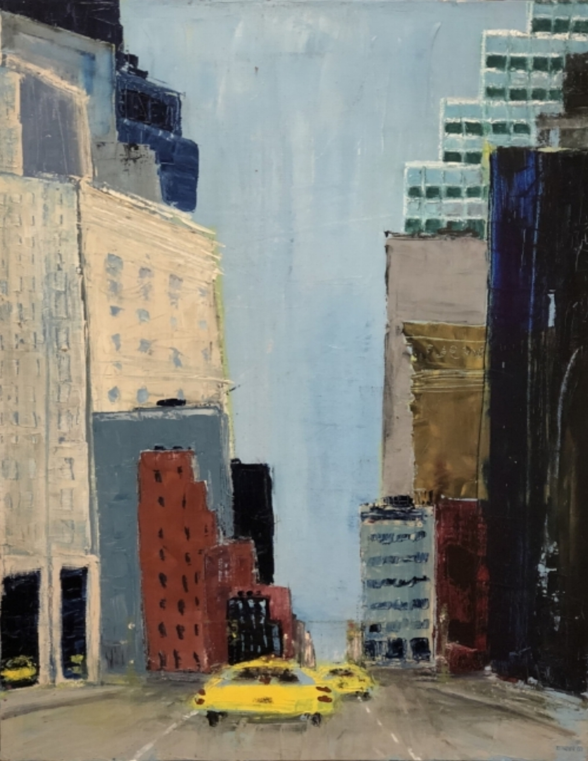 "Yellow Cabs on the Street  | 24"" x 18 3/4"" 
