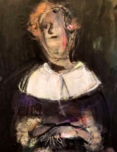 "Spanish Portrait, Manuela Holban, mixed media, 12"" x 9"",  Inquire."